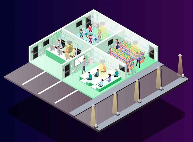 Elettricità per ufficio, istruzione, produzione, negozio al dettaglio, illustrazione isometrica
