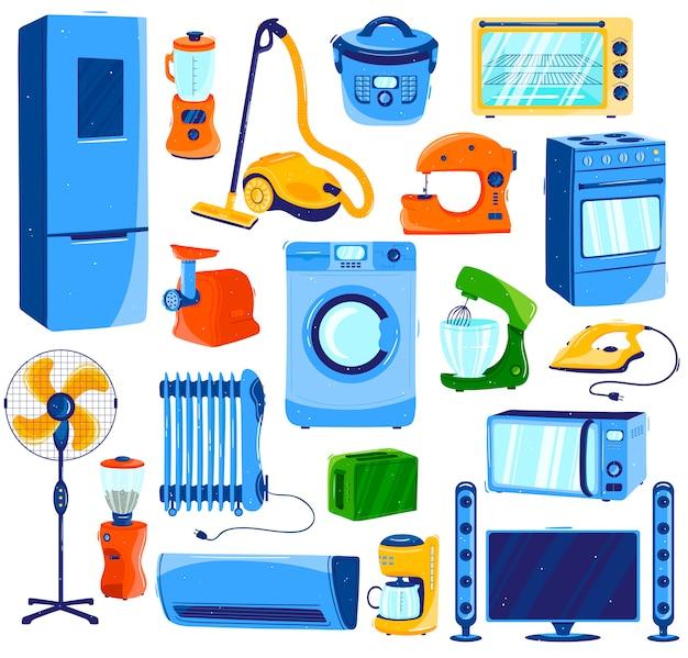 Elettrodomestici, insieme di elettronica domestica su bianco, illustrazione di stile del fumetto