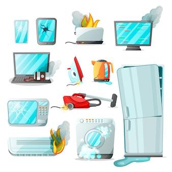 Elettrodomestici moderni di elettronica di consumo piatto