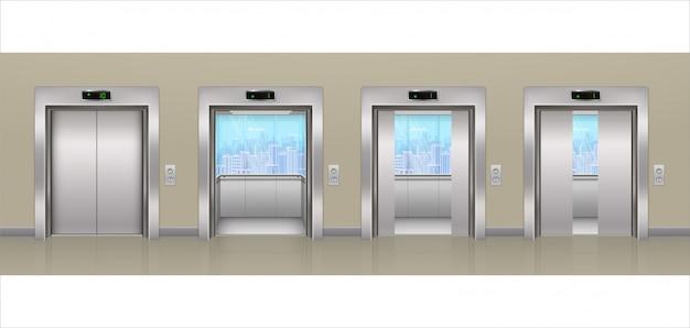 Elevatore passeggeri metallico aperto e chiuso moderno dell'edificio per uffici del cromo con finestre di vetro e viste della città realistico ascensore in un corridoio vuoto.