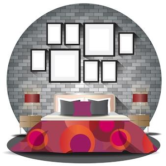 Elevazione della camera da letto impostata con sfondo