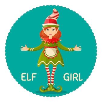 Elf ragazza femmina sovrannaturale a forma umana in abito verde abito e grembiule