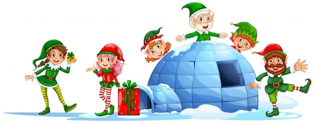 Elfi che giocano fuori dall'igloo