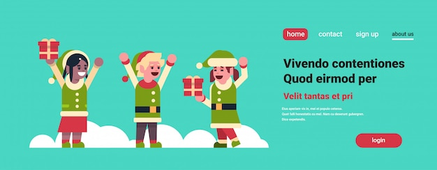 Elfi ragazza ragazzo babbo natale aiutante tenere confezione regalo presente buon natale vacanza capodanno