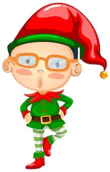 Elfo che indossa un cappello rosso