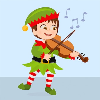 Elfo che suona canzoni di natale