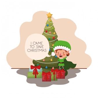 Elfo con albero di natale e regali
