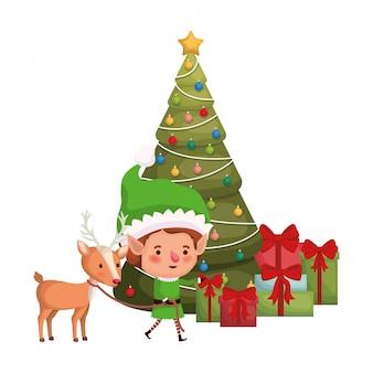 Elfo con renne e albero di natale personaggio avatar