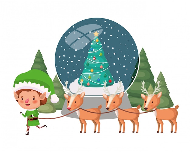 Elfo con renne e sfera di cristallo personaggio avatar