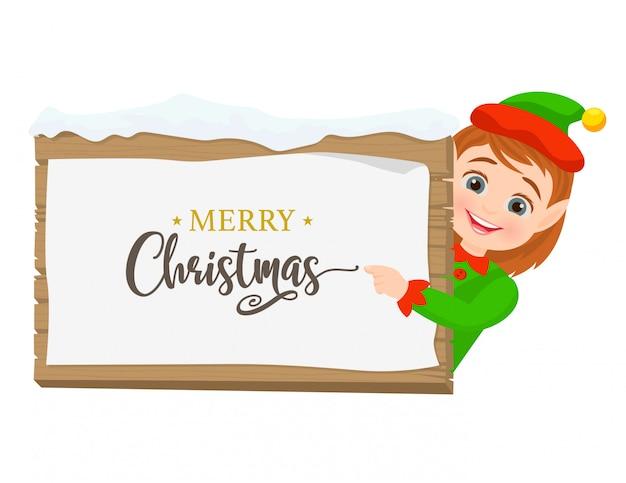 Elfo con segno di pergamena in legno