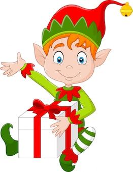 Elfo di cartone animato con scatola regalo