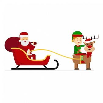 Elfo di natale che guida una renna con babbo natale