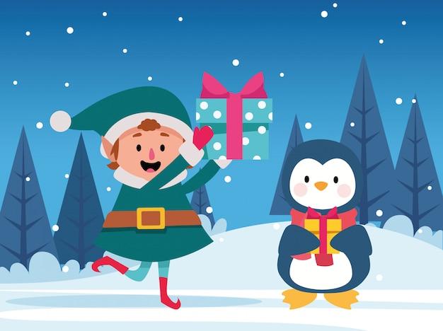 Elfo di natale del fumetto e pinguino sveglio che tengono i contenitori di regalo