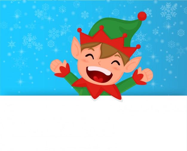 Elfo di natale e fiocco di neve con banner bianco.