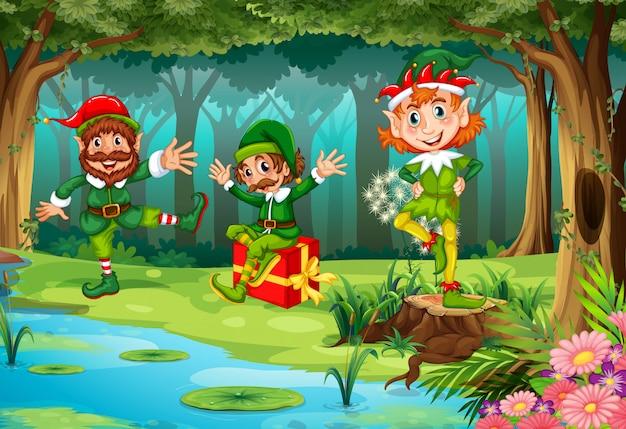 Elfo di natale nella foresta