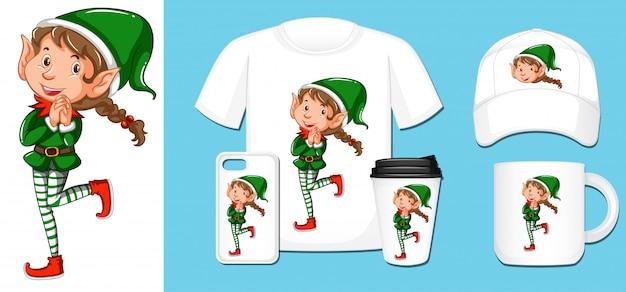 Elfo di natale su diversi prodotti