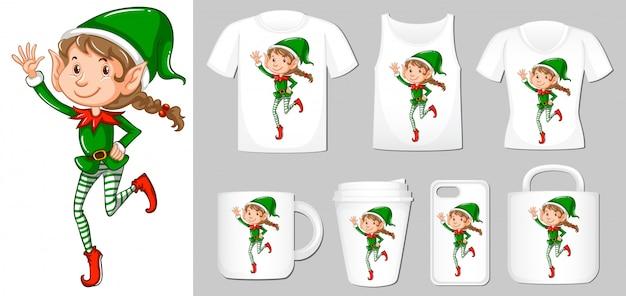 Elfo di natale su diversi tipi di modello di prodotto