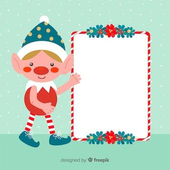 Elfo di sfondo di natale con cartello bianco