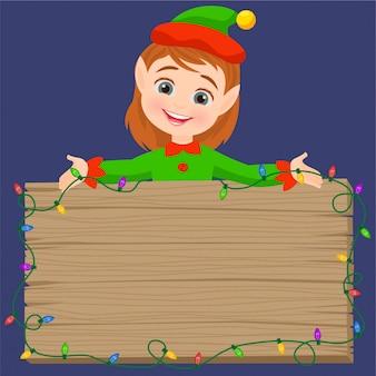 Elfo e un canto in legno