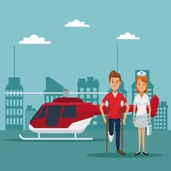 Elicottero che vola in testa medici specialisti del primo piano