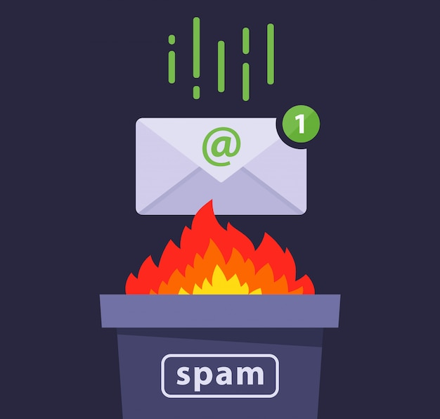 Eliminare i messaggi di spam dalla posta elettronica. protezione contro un virus informatico. illustrazione