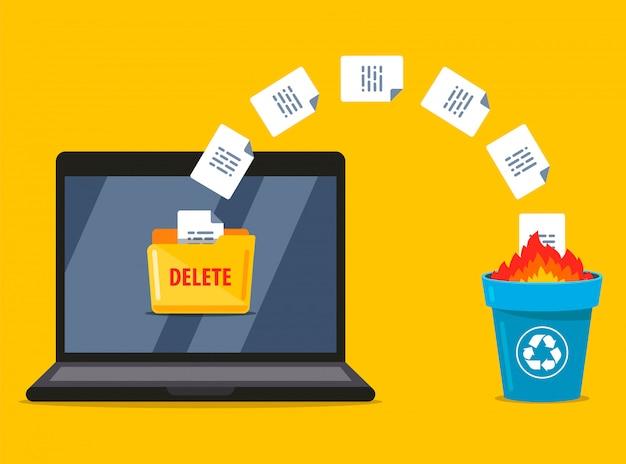 Eliminazione permanente dei documenti dal laptop al cestino. la masterizzazione di dati. illustrazione piatta.