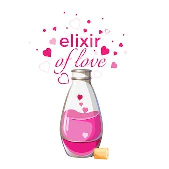 Elisir della bottiglia di amore con liquido rosa e cuori isolati