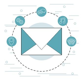 Email e simboli di tecnologia