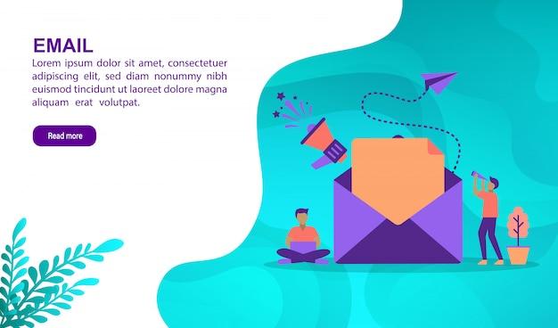 Email illustrazione concetto con carattere. modello di pagina di destinazione