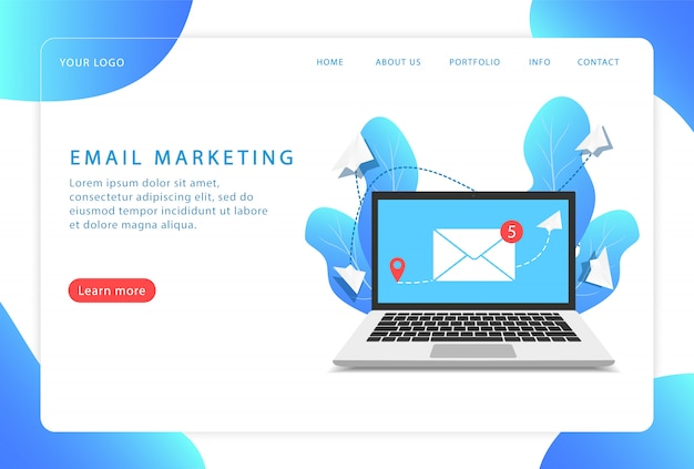 Email marketing, servizio di posta. pagina di destinazione. pagine web moderne per siti web.