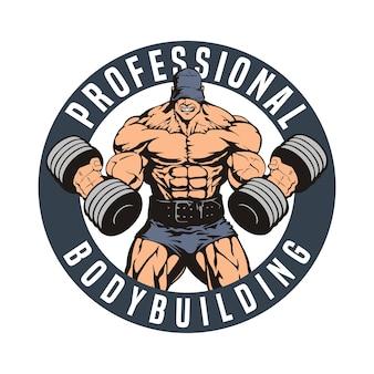 Emblema arrotondato di bodybuilding, uomo enorme con bilancieri,