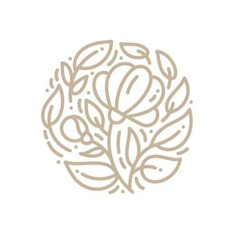 Emblema astratto logo fiore in un cerchio in stile lineare.