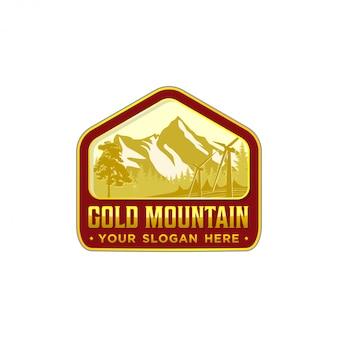 Emblema avventura montagna all'aperto o logo design