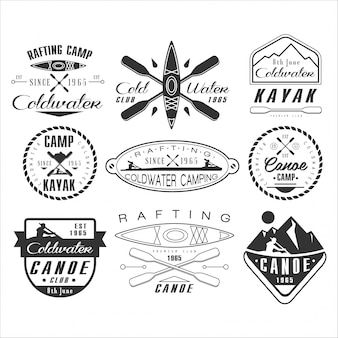 Emblema, badge e logo di kayak e canoa
