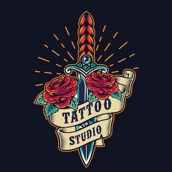 Emblema colorato di studio tatuaggio vintage