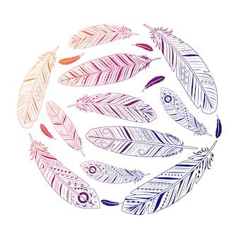 Emblema colorato rotondo di piume etniche
