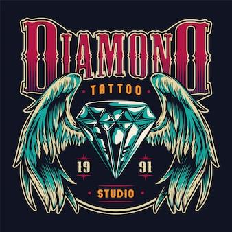 Emblema colorato salone di tatuaggio vintage