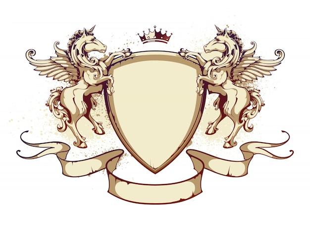 Emblema con nastri e leoni