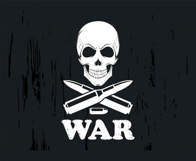 Emblema con pistole e teschio. emblema. icona su uno sfondo scuro