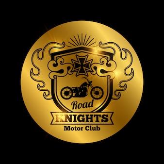 Emblema d'oro della moto club con moto