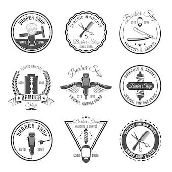 Emblema del barbiere o set di etichette