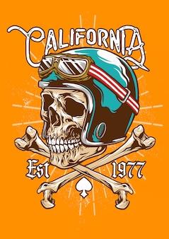 Emblema del casco teschio vintage e ossa incrociate