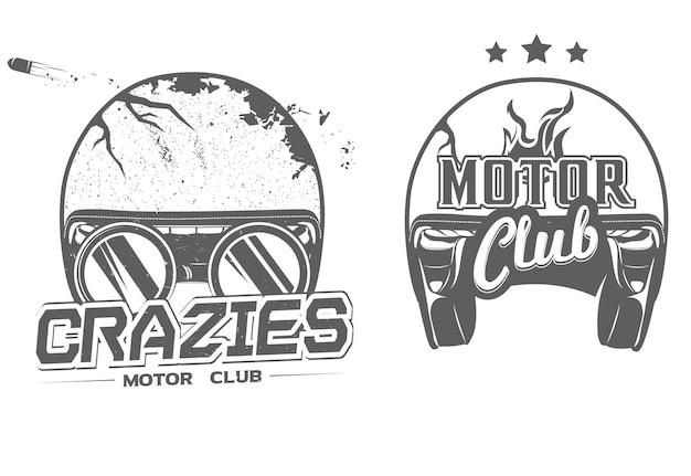 Emblema del club automobilistico con il casco del motociclista e vetri rotondi ed emblema d'annata del club del motore con il casco aperto del motociclista, illustrazione di vettore