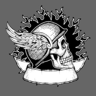 Emblema del cranio del motociclista di disegno della maglietta di vettore del motociclo retro