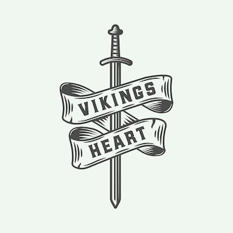 Emblema del cuore di vichinghi con spada