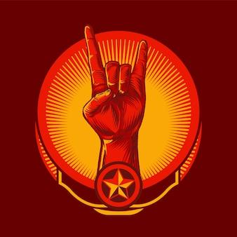 Emblema del gesto del segno della mano di roccia