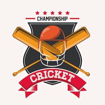 Emblema del gioco del campionato di cricket con attrezzatura