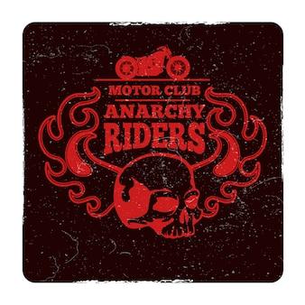 Emblema del grunge dell'annata del club della motocicletta
