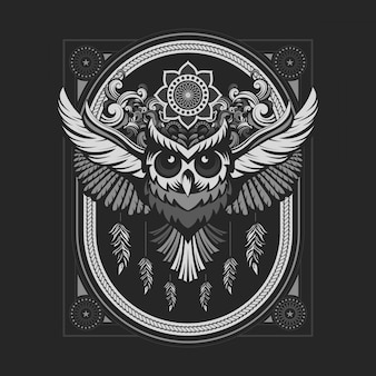 Emblema del gufo con colore argento