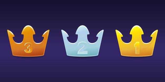 Emblema del livello della corona in bronzo, argento, oro set premium
